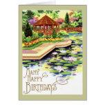 Cumpleaños del jardín de flores del vintage tarjetón