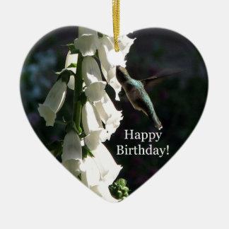 Cumpleaños del jardín del colibrí feliz ornamentos para reyes magos