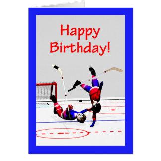 Cumpleaños del juego de hockey tarjeton
