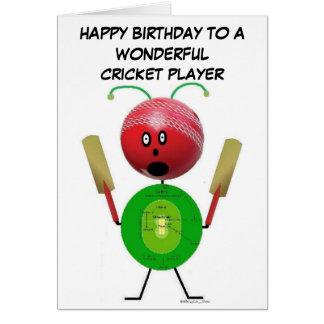 Cumpleaños del jugador del grillo tarjeta de felicitación