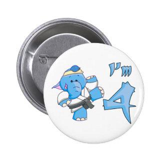 Cumpleaños del karate del elefante 4to pin redondo de 2 pulgadas