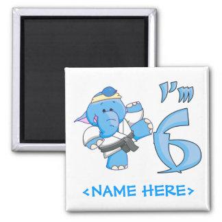 Cumpleaños del karate del elefante 6to imán cuadrado