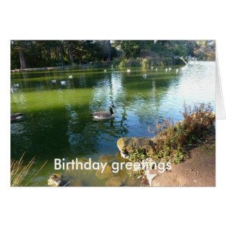 Cumpleaños del lago stow tarjeta de felicitación