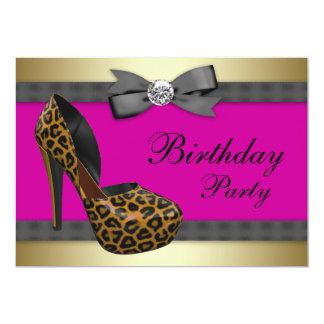 """Cumpleaños del leopardo de las rosas fuertes de invitación 5"""" x 7"""""""