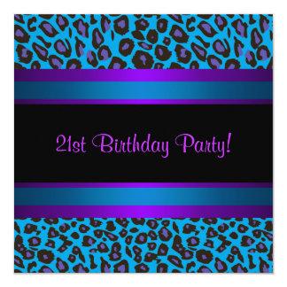 """Cumpleaños del leopardo púrpura azul del trullo de invitación 5.25"""" x 5.25"""""""