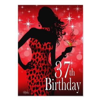 """Cumpleaños del leopardo rojo de la chispa de la invitación 5"""" x 7"""""""