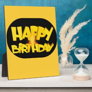 Cumpleaños del Lit de la vela feliz Placa De Plastico
