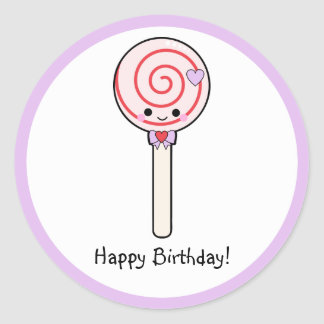 Cumpleaños del Lollipop del caramelo feliz Pegatina Redonda