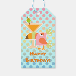 Cumpleaños del lunar de Martini del pájaro de Etiquetas Para Regalos
