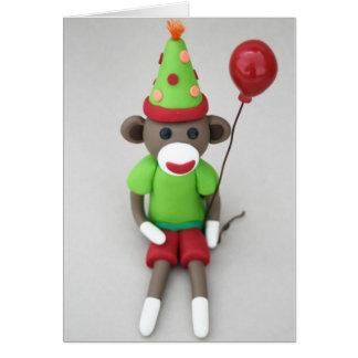 Cumpleaños del mono del calcetín feliz con el tarjeta pequeña