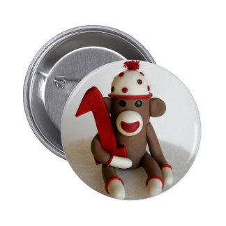 Cumpleaños del mono del calcetín primer pin redondo 5 cm