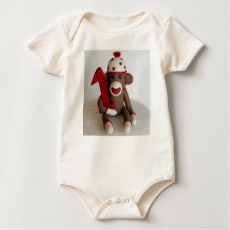 Cumpleaños del mono del calcetín primer traje de bebé