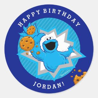 Cumpleaños del monstruo de la galleta pegatina redonda