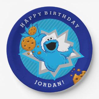 Cumpleaños del monstruo de la galleta plato de papel de 9 pulgadas