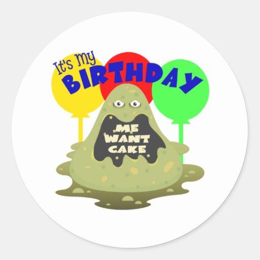 Cumpleaños del monstruo de los niños pegatina redonda