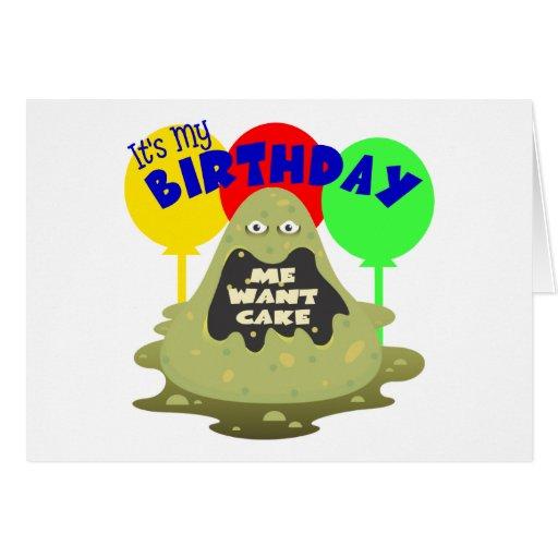 Cumpleaños del monstruo de los niños tarjeton