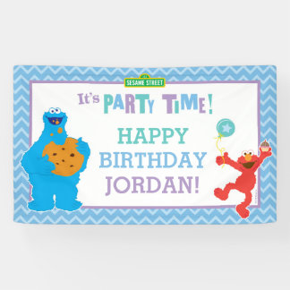 Cumpleaños del monstruo y de Elmo de la galleta Lona