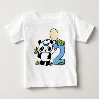 Cumpleaños del muchacho de la panda 2do playera de bebé