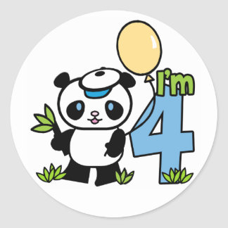 Cumpleaños del muchacho de la panda 4to pegatina redonda