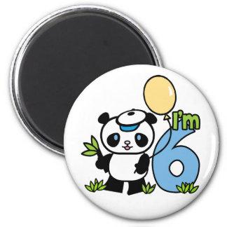 Cumpleaños del muchacho de la panda 6to imán redondo 5 cm