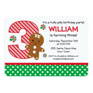 Cumpleaños del muchacho del pan de jengibre 3ro comunicado personalizado