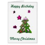 Cumpleaños del navidad que ve estrellas el 25 de tarjeta de felicitación