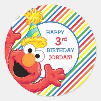 Cumpleaños del neutral de Elmo Pegatina Redonda