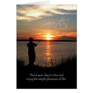 Cumpleaños del nieto, silueta de la pesca de la tarjeta de felicitación