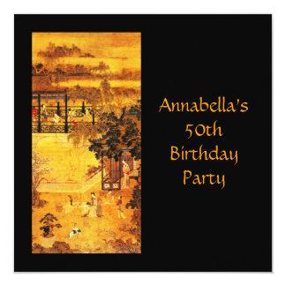 """Cumpleaños del oro asiático del arte del vintage invitación 5.25"""" x 5.25"""""""