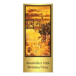 """Cumpleaños del oro asiático del arte del vintage invitación 4"""" x 9.25"""""""