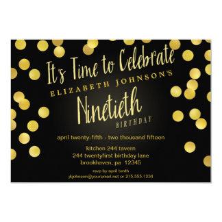 """Cumpleaños del oro elegante y del confeti negro el invitación 5"""" x 7"""""""