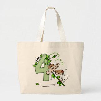 Cumpleaños del oscilación del mono del palillo 4to bolsa tela grande