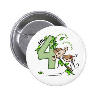 Cumpleaños del oscilación del mono del palillo 4to pin redondo de 2 pulgadas