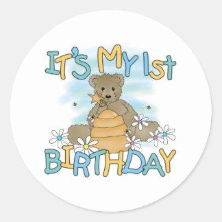 Cumpleaños del oso de miel 1r pegatinas