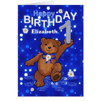 Cumpleaños del oso de peluche 1r para el chica tarjeta de felicitación