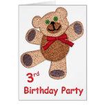 Cumpleaños del oso de peluche 3ro tarjetas