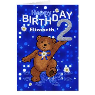Cumpleaños del oso de peluche del baile 2do para tarjeta de felicitación