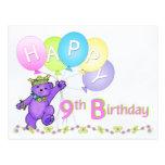Cumpleaños del oso de peluche del baile 9no tarjetas postales