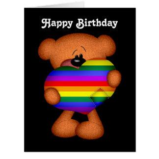 Cumpleaños del oso de peluche del corazón del orgu tarjetón