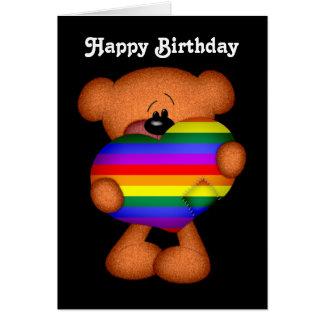 Cumpleaños del oso de peluche del corazón del tarjeta de felicitación