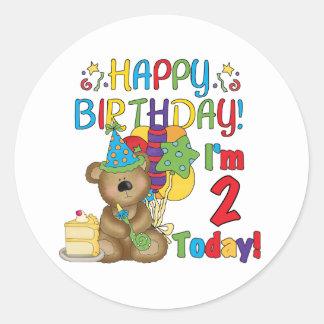 Cumpleaños del oso de peluche del feliz cumpleaños pegatina redonda