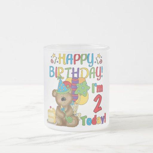 Cumpleaños del oso de peluche del feliz cumpleaños taza cristal mate