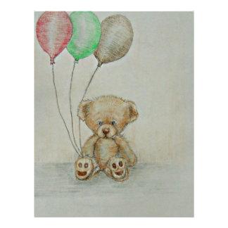 cumpleaños del oso de peluche plantillas de membrete
