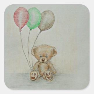 cumpleaños del oso de peluche pegatina cuadrada