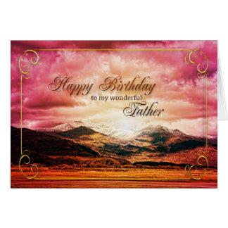Cumpleaños del padre puesta del sol sobre las mon felicitación