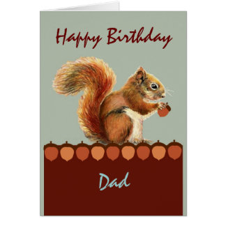 Cumpleaños del papá del arte de la ardilla del hum tarjetón