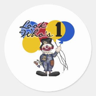 Cumpleaños del payaso de circo 1r pegatina redonda