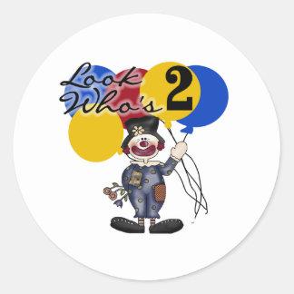 Cumpleaños del payaso de circo 2do pegatinas redondas