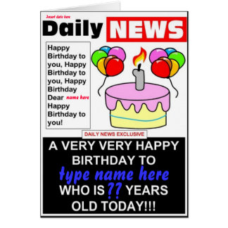 Cumpleaños del periódico tarjeta de felicitación