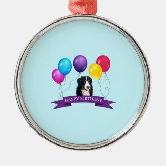 Cumpleaños del perro de montaña de Bernese feliz Adorno Navideño Redondo De Metal